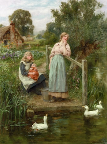 At the Duck Pond by Henry John Yeend King