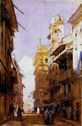 The Corsa Saint' Anastasia, Verona, with the Palace of Prince Maffet by Richard Parkes Bonington