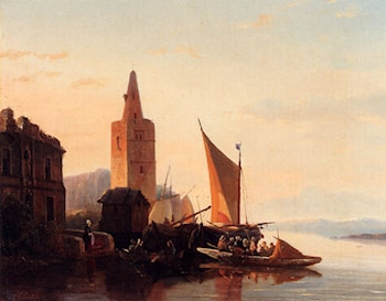 Moored Shipping By A Lighthouse by Francois-Jean-Louis Boulanger