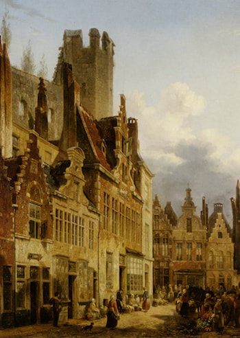 A busy market scene in the streets of Ghent by Francois-Jean-Louis Boulanger