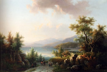 A Wooded Hilly Landscape With Travellers On  A Track Near A Lake by Willem De Klerk