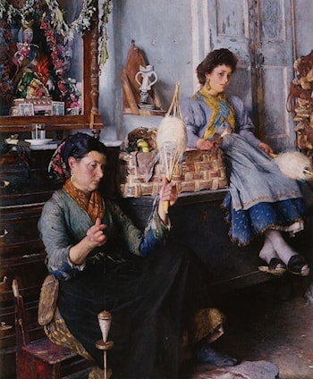 Venetian Women Spinning Wool by Marius Michel