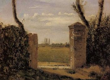 Boid­Guillaumi, near Rouen ­ A Gate Flanked by Two Posts by Jean-Baptiste-Camille Corot