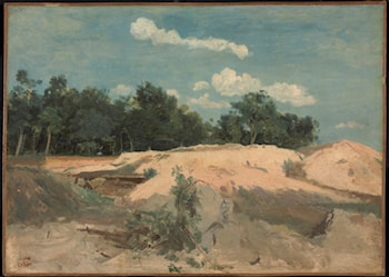 At Fontainbleau, Oaks and Sand in the Sun  by Jean-Baptiste-Camille Corot