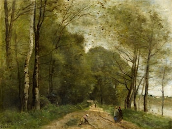 Summer Landscape with a Path and Lake by Jean-Baptiste-Camille Corot