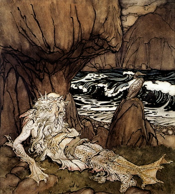 A Crowned Merman by Arthur Rackham