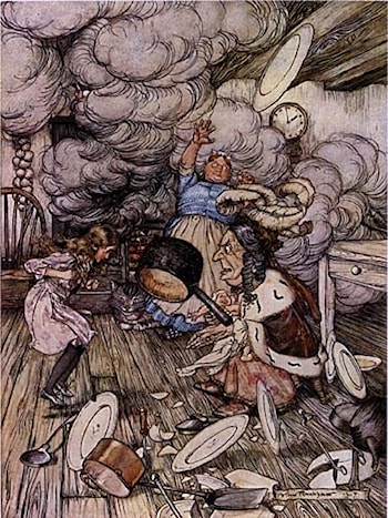 Alice in Wonderland: Pig and Pepper by Arthur Rackham