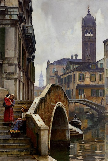 The Ponte dei Pugni, Venice, with the Campanile of Sta. Fosca beyond by William Logsdail